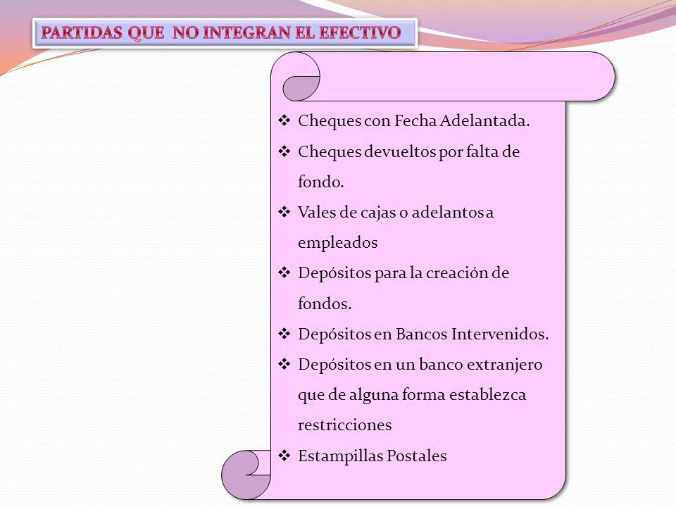 PARTIDAS QUE NO INTEGRAN EL EFECTIVO