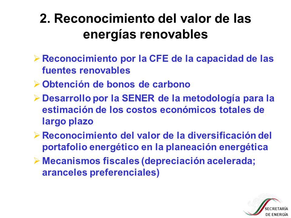 2. Reconocimiento del valor de las energías renovables