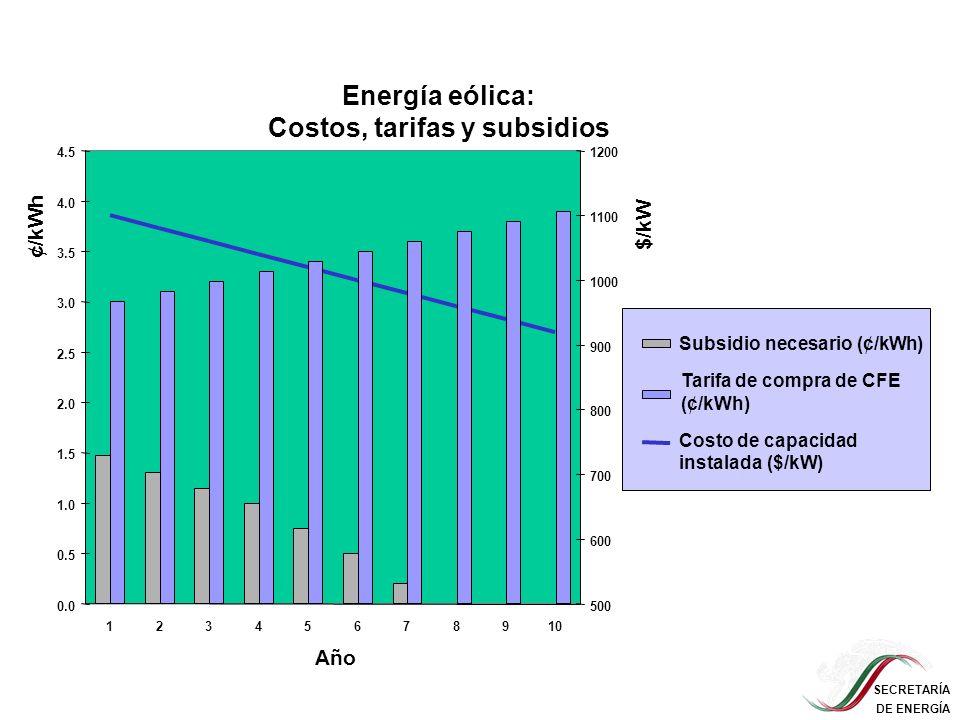 Energía eólica: Costos, tarifas y subsidios