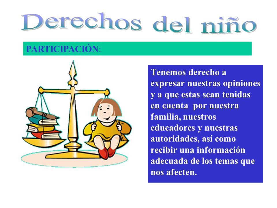 Derechos del niño PARTICIPACIÓN: