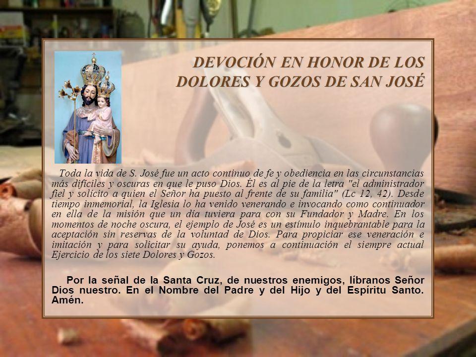 DEVOCIÓN EN HONOR DE LOS DOLORES Y GOZOS DE SAN JOSÉ