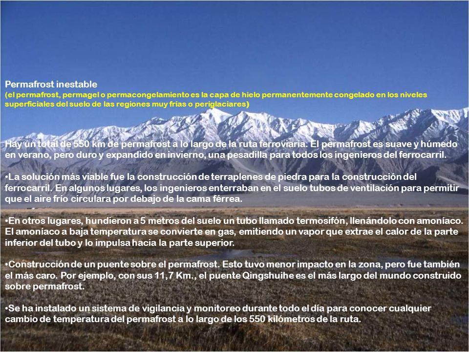 Permafrost inestable (el permafrost, permagel o permacongelamiento es la capa de hielo permanentemente congelado en los niveles superficiales del suelo de las regiones muy frías o periglaciares)