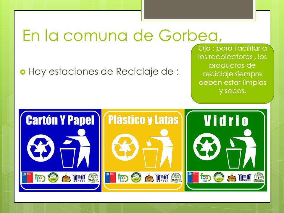 En la comuna de Gorbea, Hay estaciones de Reciclaje de :