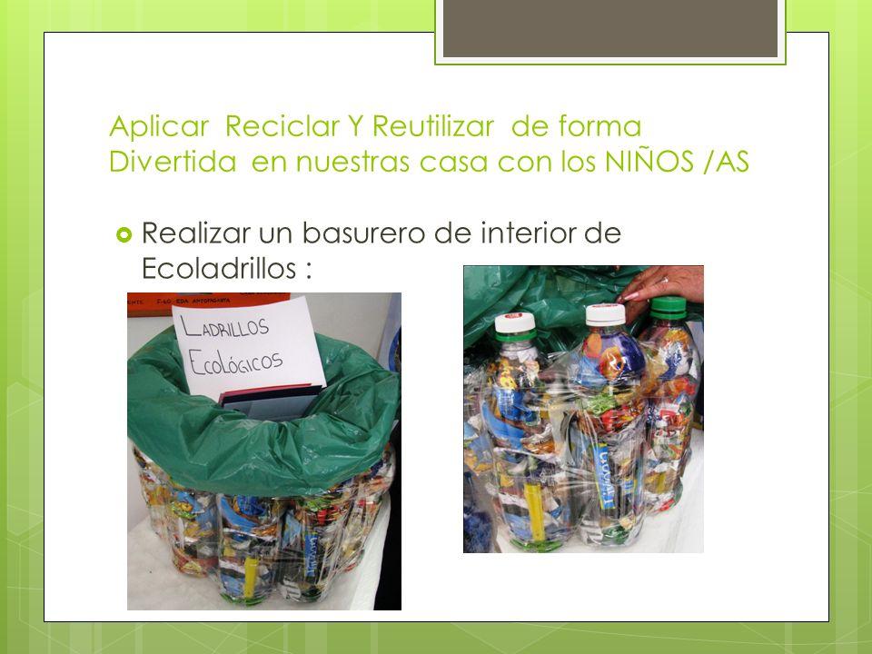 Aplicar Reciclar Y Reutilizar de forma Divertida en nuestras casa con los NIÑOS /AS