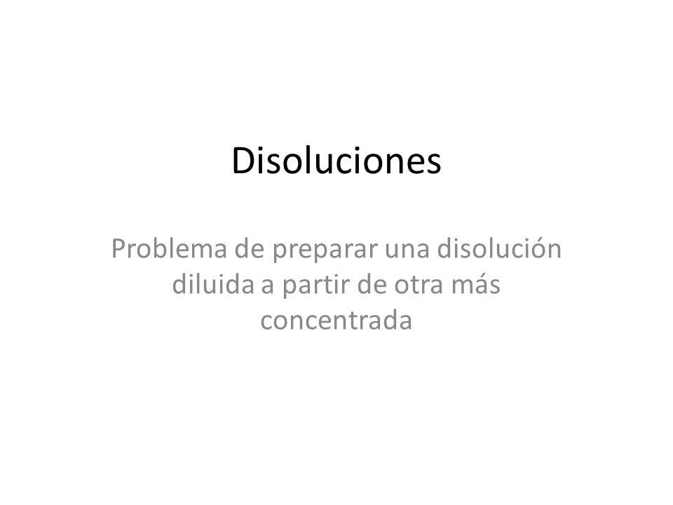 Disoluciones Problema de preparar una disolución diluida a partir de otra más concentrada