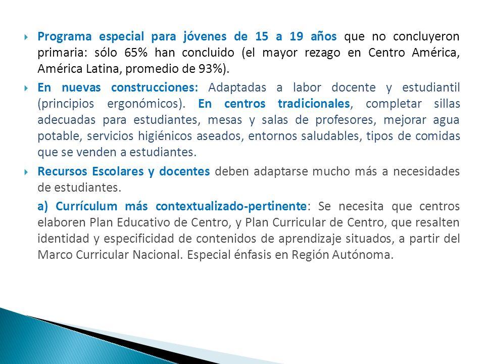 Programa especial para jóvenes de 15 a 19 años que no concluyeron primaria: sólo 65% han concluido (el mayor rezago en Centro América, América Latina, promedio de 93%).
