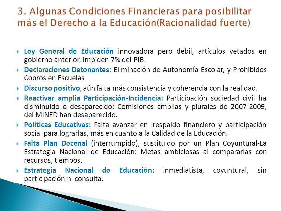 3. Algunas Condiciones Financieras para posibilitar más el Derecho a la Educación(Racionalidad fuerte)