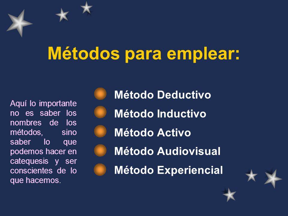 Métodos para emplear: Método Deductivo Método Inductivo Método Activo
