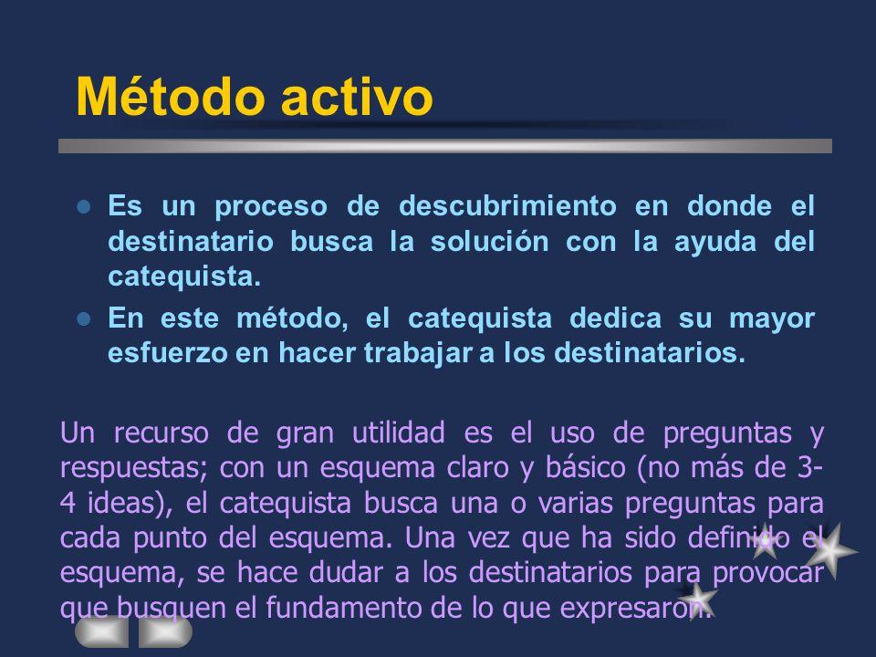 Método activo Es un proceso de descubrimiento en donde el destinatario busca la solución con la ayuda del catequista.