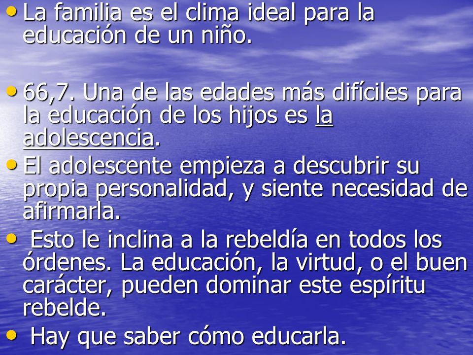 La familia es el clima ideal para la educación de un niño.
