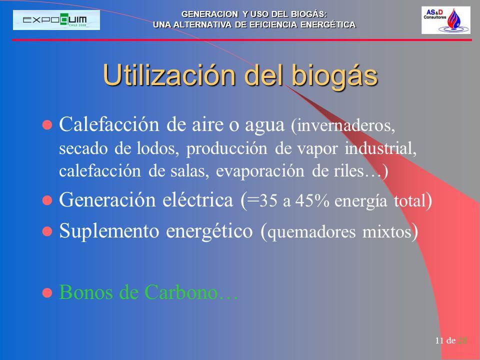 Utilización del biogás