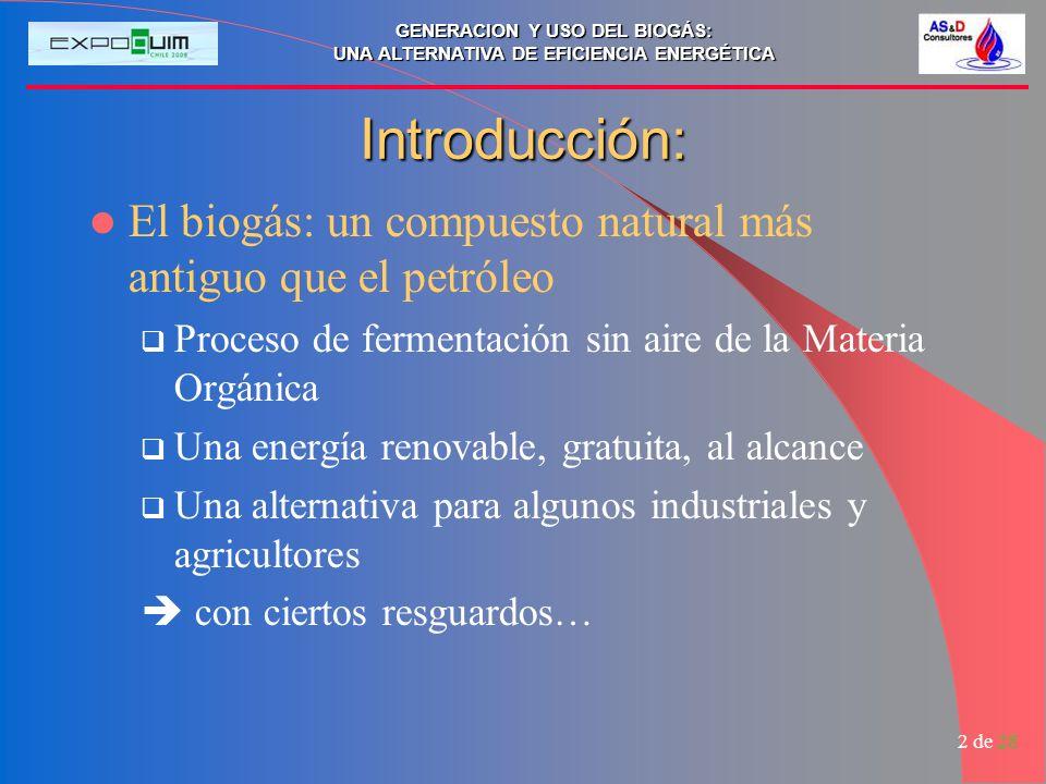 Introducción: El biogás: un compuesto natural más antiguo que el petróleo. Proceso de fermentación sin aire de la Materia Orgánica.