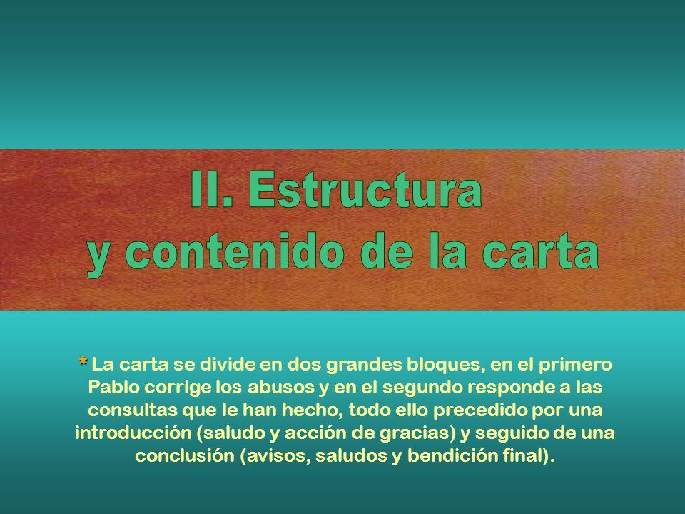 II. Estructura y contenido de la carta