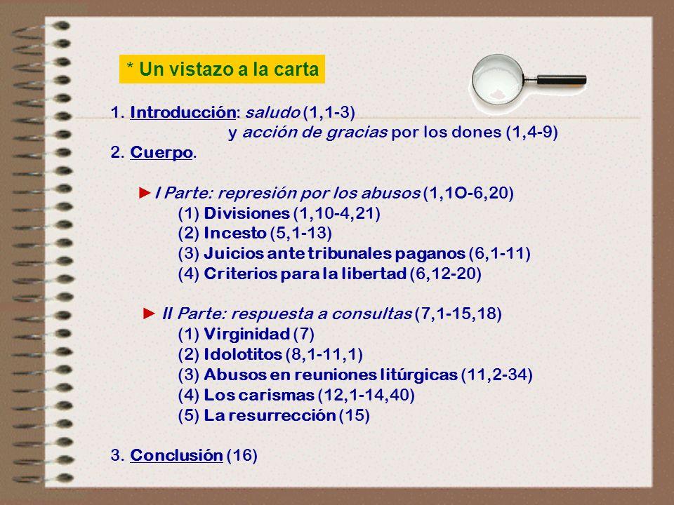 * Un vistazo a la carta 1. Introducción: saludo (1,1‑3)