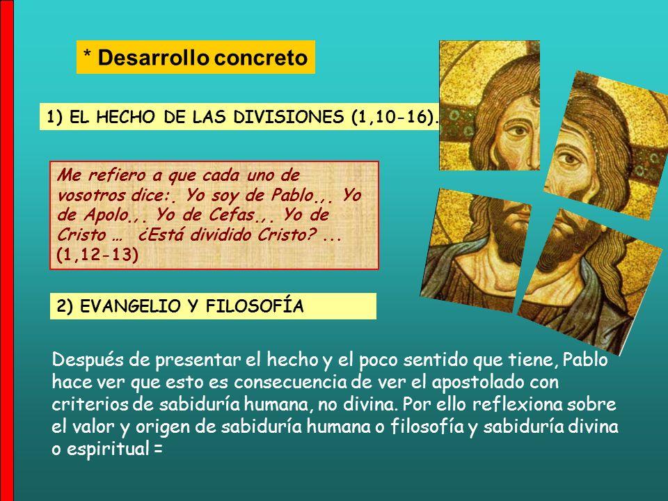* Desarrollo concreto 1) EL HECHO DE LAS DIVISIONES (1,10-16).
