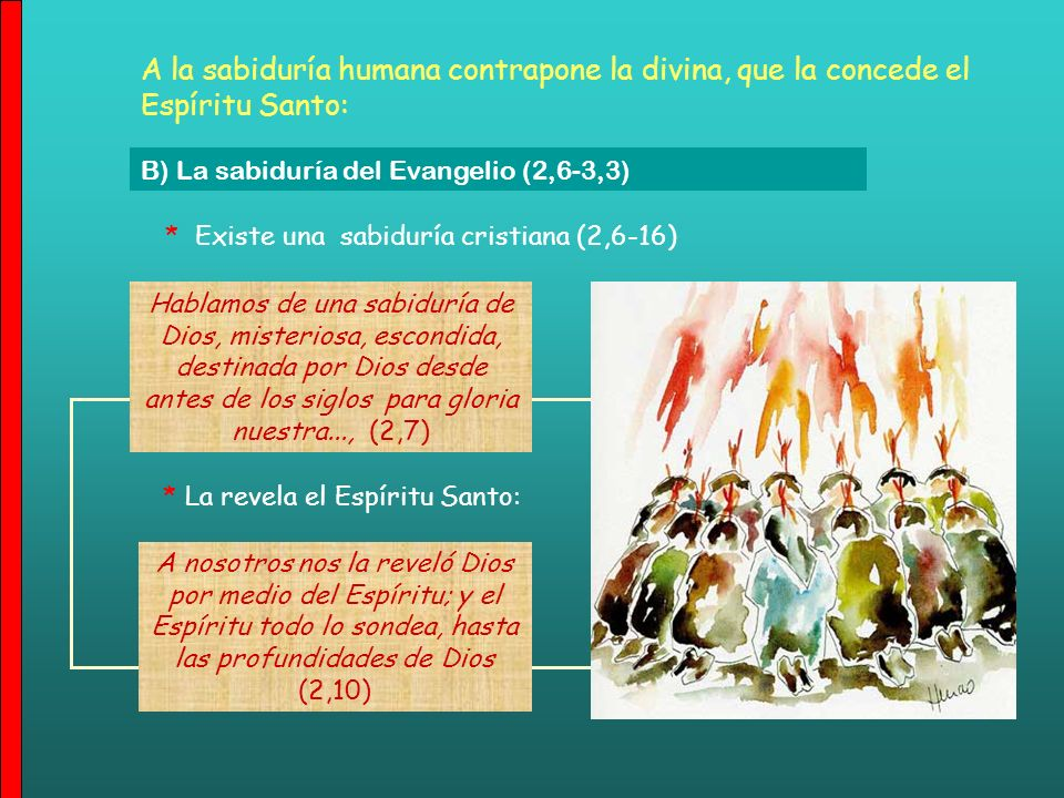 A la sabiduría humana contrapone la divina, que la concede el Espíritu Santo: