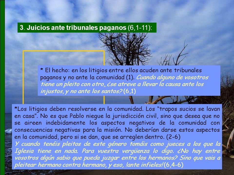3. Juicios ante tribunales paganos (6,1-11):