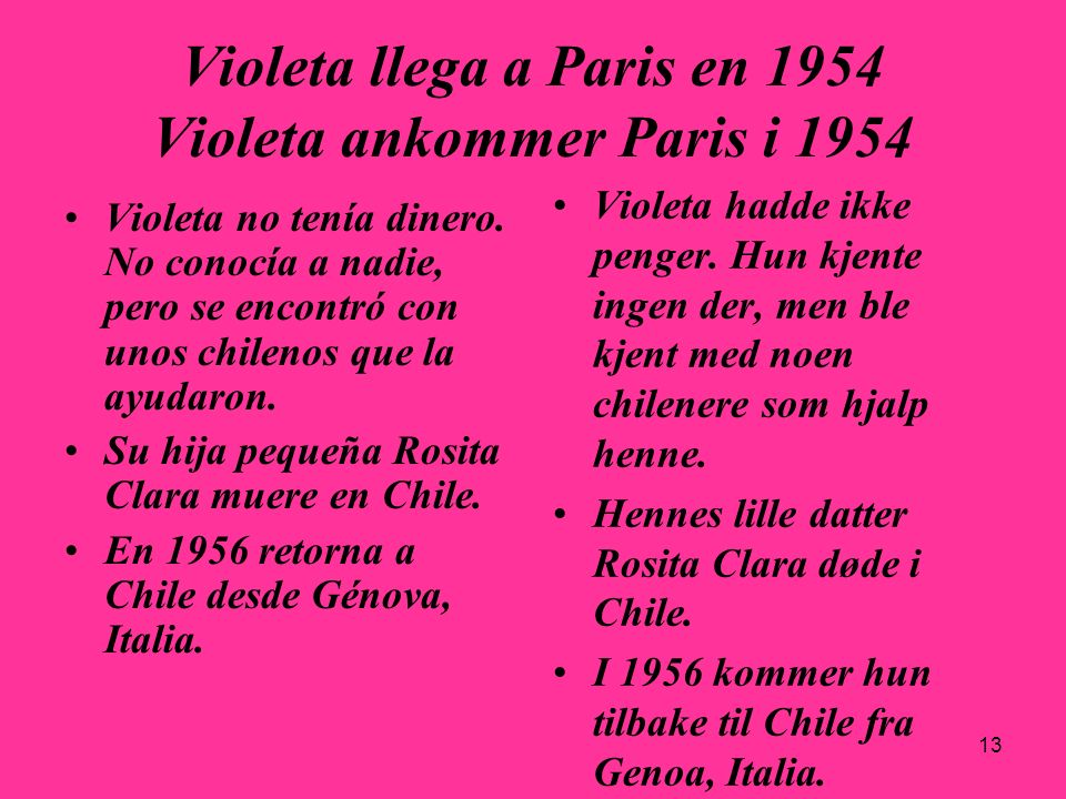 Violeta llega a Paris en 1954 Violeta ankommer Paris i 1954