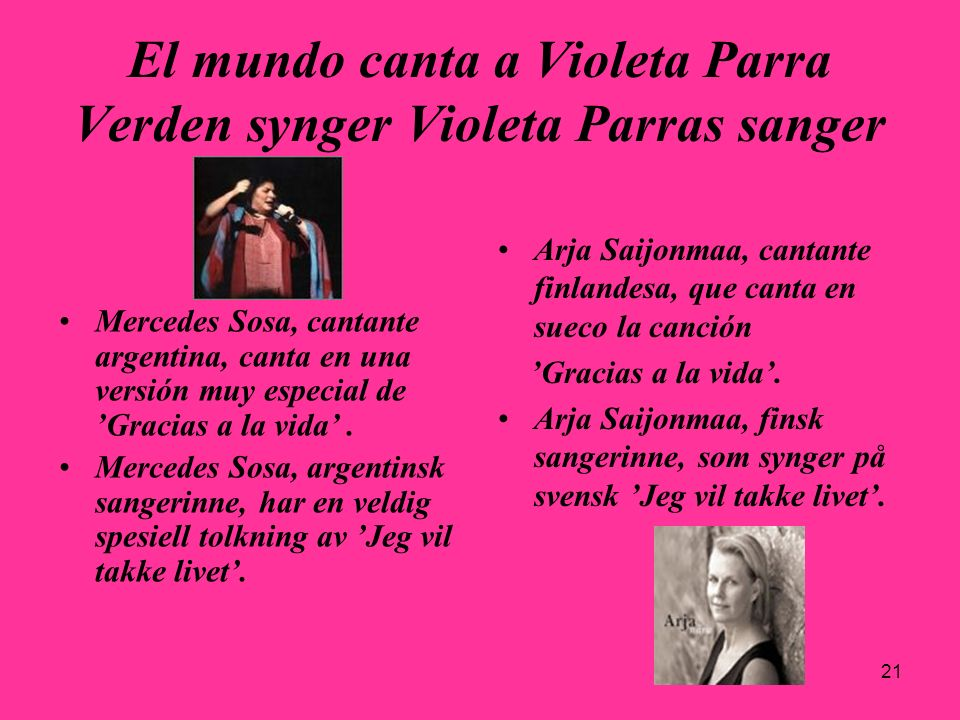 El mundo canta a Violeta Parra Verden synger Violeta Parras sanger