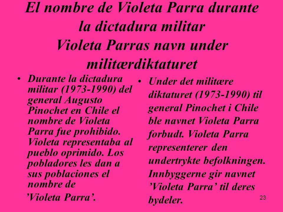 29.03.2017El nombre de Violeta Parra durante la dictadura militar Violeta Parras navn under militærdiktaturet.
