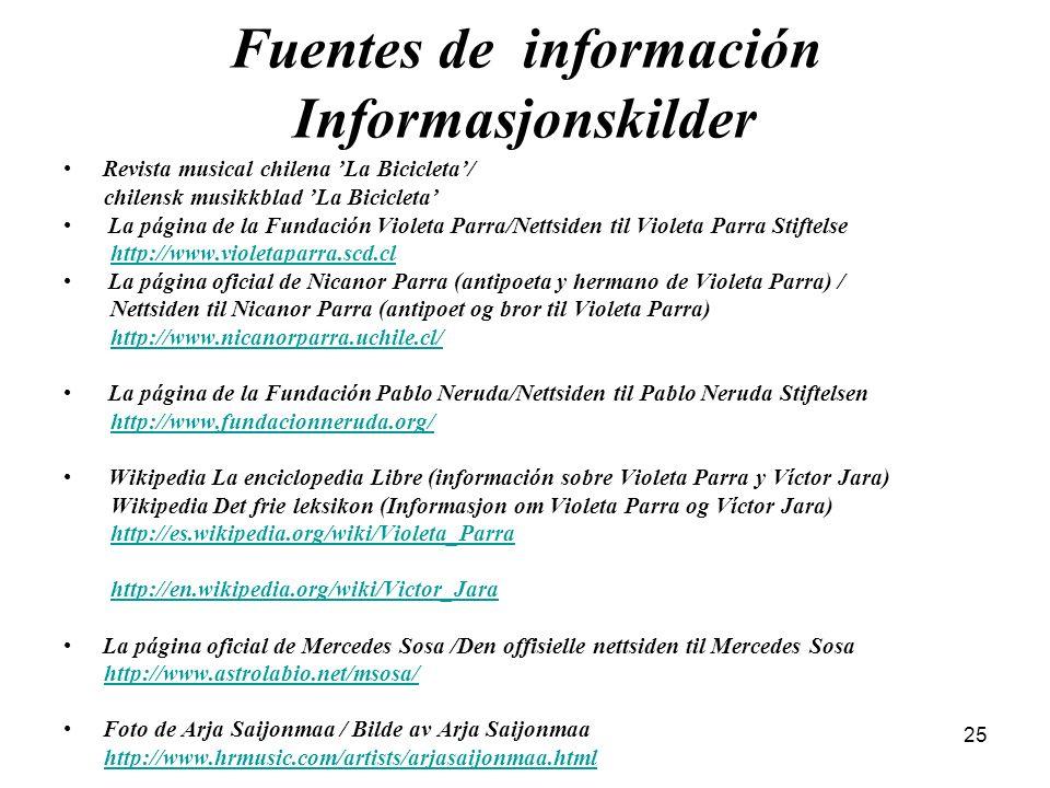 Fuentes de información Informasjonskilder