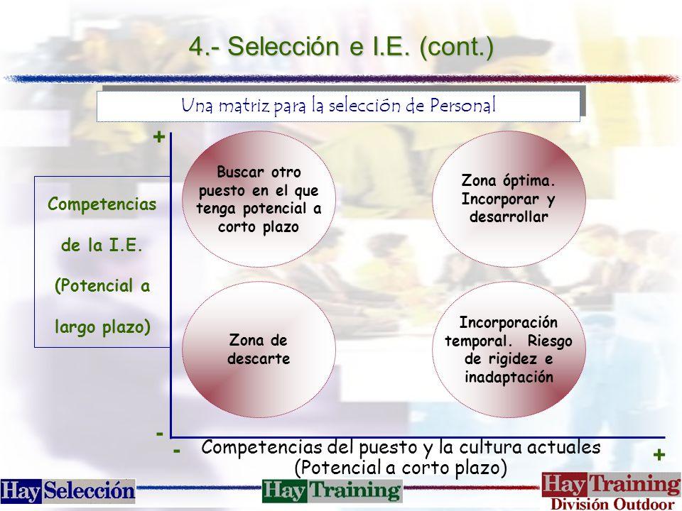 4.- Selección e I.E. (cont.) + -