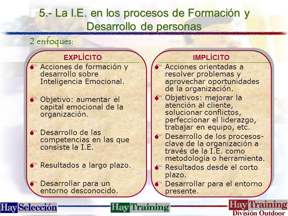 5.- La I.E. en los procesos de Formación y Desarrollo de personas
