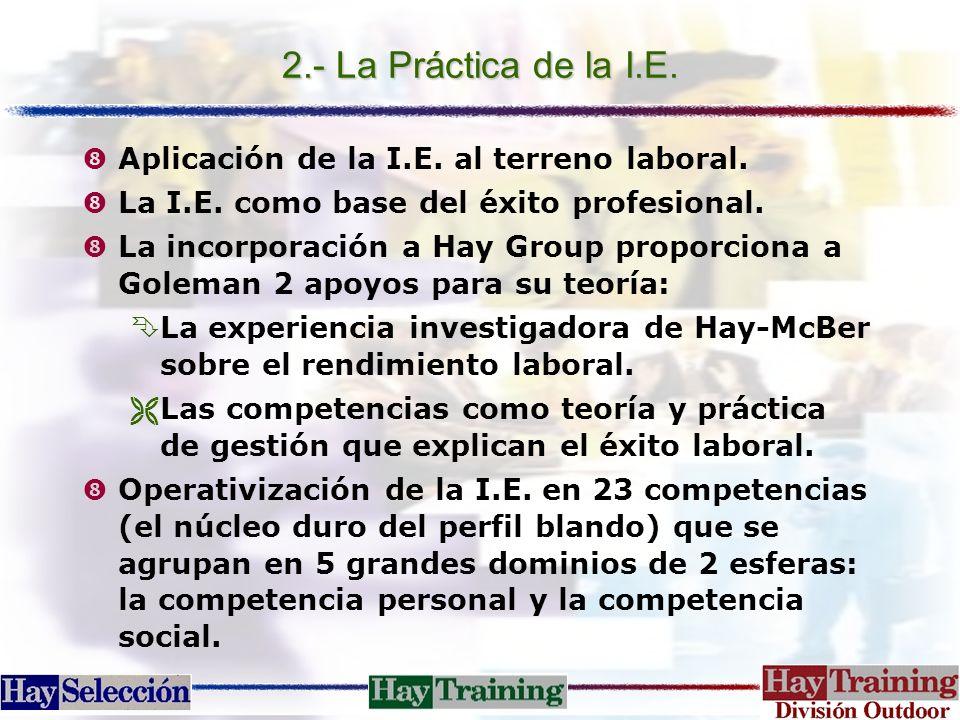 2.- La Práctica de la I.E. Aplicación de la I.E. al terreno laboral.