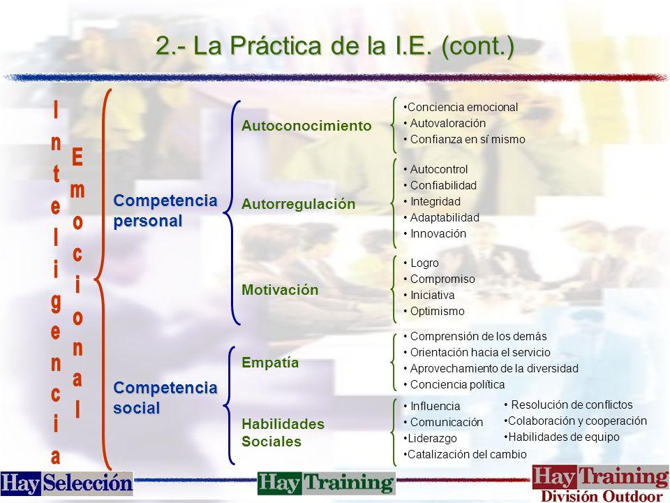 2.- La Práctica de la I.E. (cont.)
