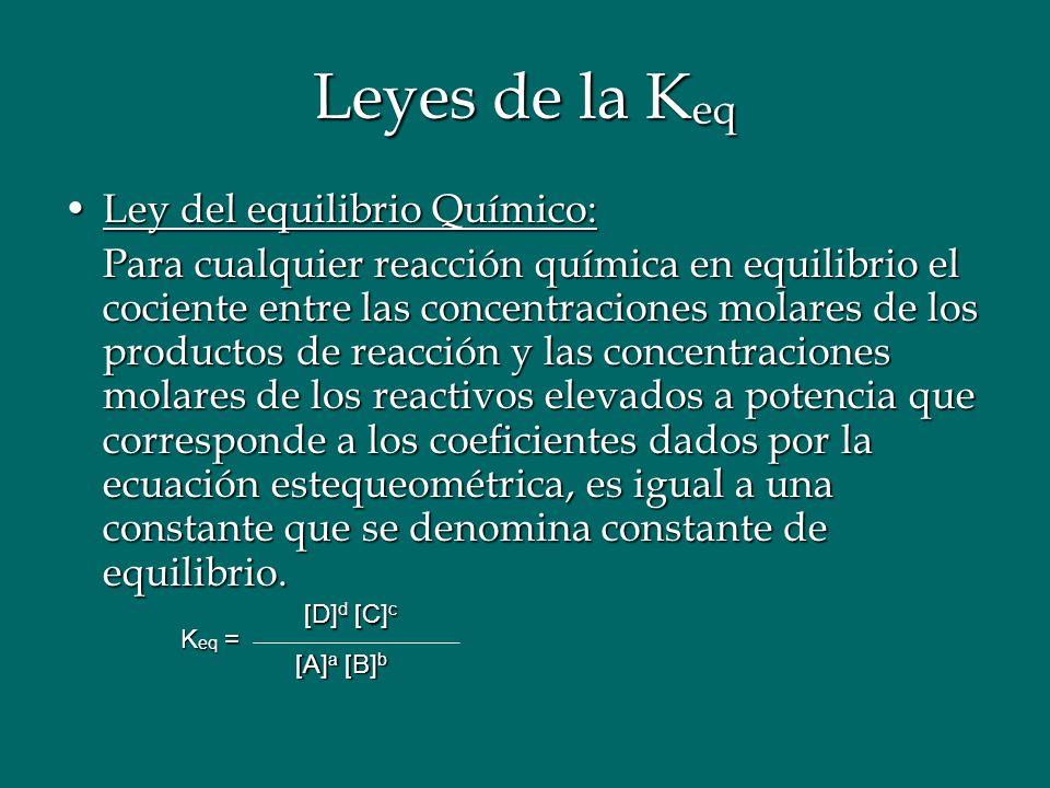 Leyes de la Keq Ley del equilibrio Químico: