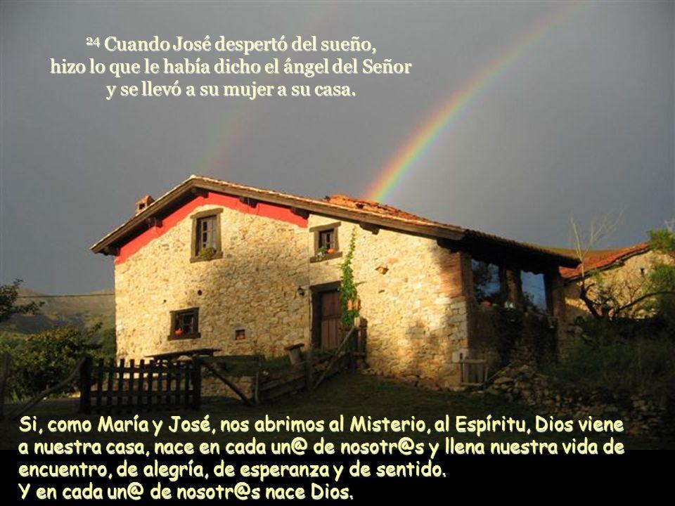 24 Cuando José despertó del sueño, hizo lo que le había dicho el ángel del Señor y se llevó a su mujer a su casa.