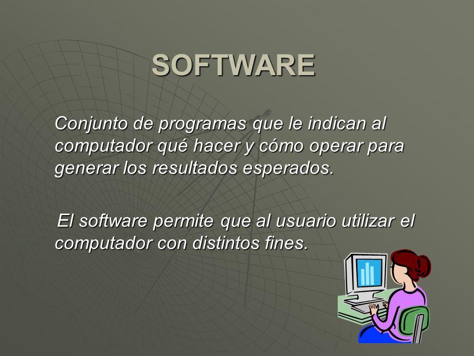 SOFTWARE Conjunto de programas que le indican al computador qué hacer y cómo operar para generar los resultados esperados.