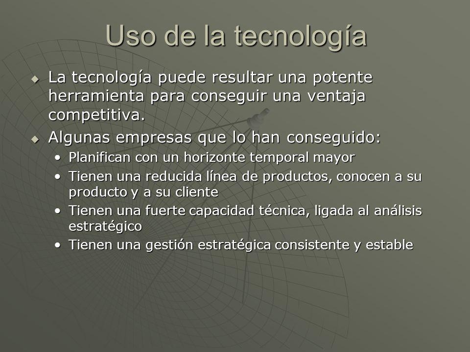 Uso de la tecnología La tecnología puede resultar una potente herramienta para conseguir una ventaja competitiva.