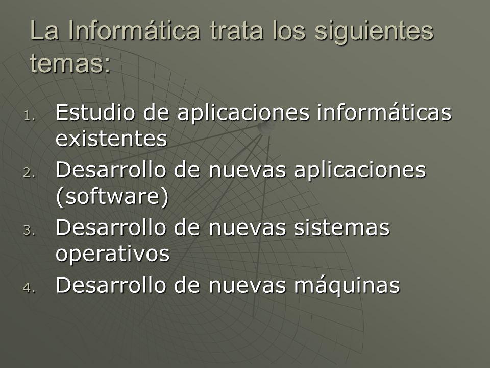 La Informática trata los siguientes temas: