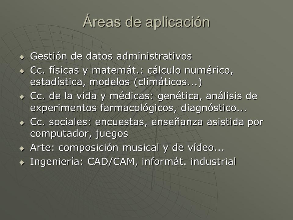 Áreas de aplicación Gestión de datos administrativos