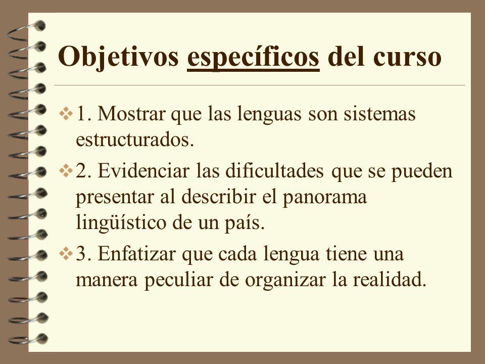 Objetivos específicos del curso