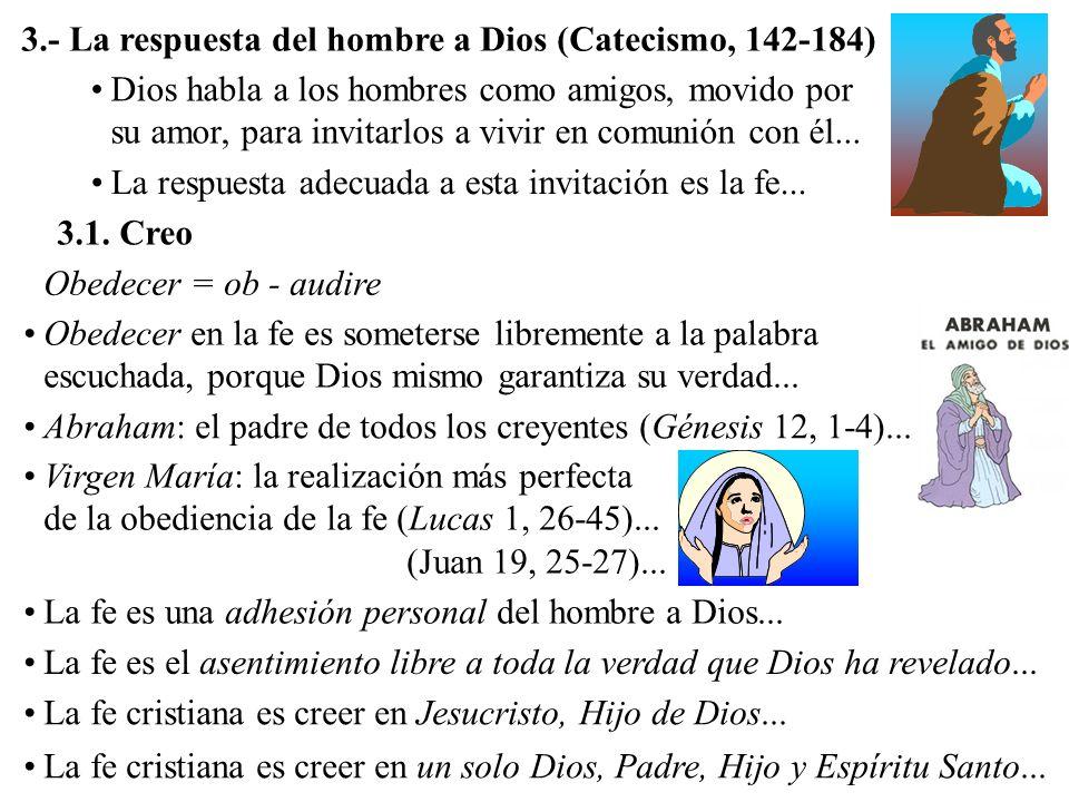 3.- La respuesta del hombre a Dios (Catecismo, 142-184)