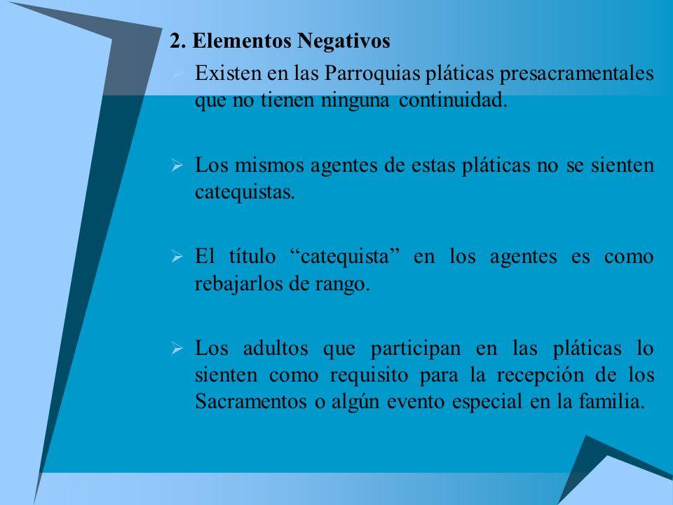 2. Elementos Negativos Existen en las Parroquias pláticas presacramentales que no tienen ninguna continuidad.