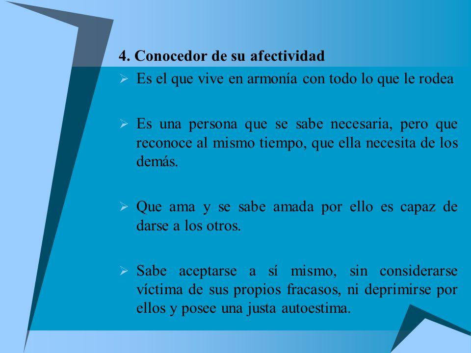 4. Conocedor de su afectividad