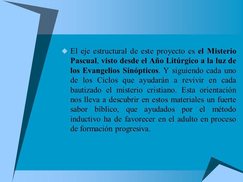 El eje estructural de este proyecto es el Misterio Pascual, visto desde el Año Litúrgico a la luz de los Evangelios Sinópticos.