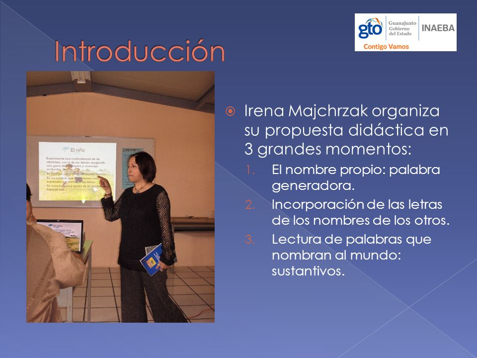 Introducción Irena Majchrzak organiza su propuesta didáctica en 3 grandes momentos: El nombre propio: palabra generadora.