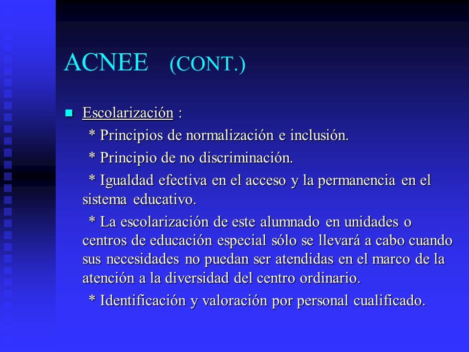 ACNEE (CONT.) Escolarización :