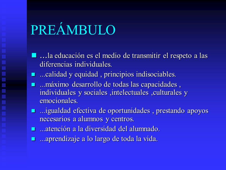 PREÁMBULO ...la educación es el medio de transmitir el respeto a las diferencias individuales. ...calidad y equidad , principios indisociables.