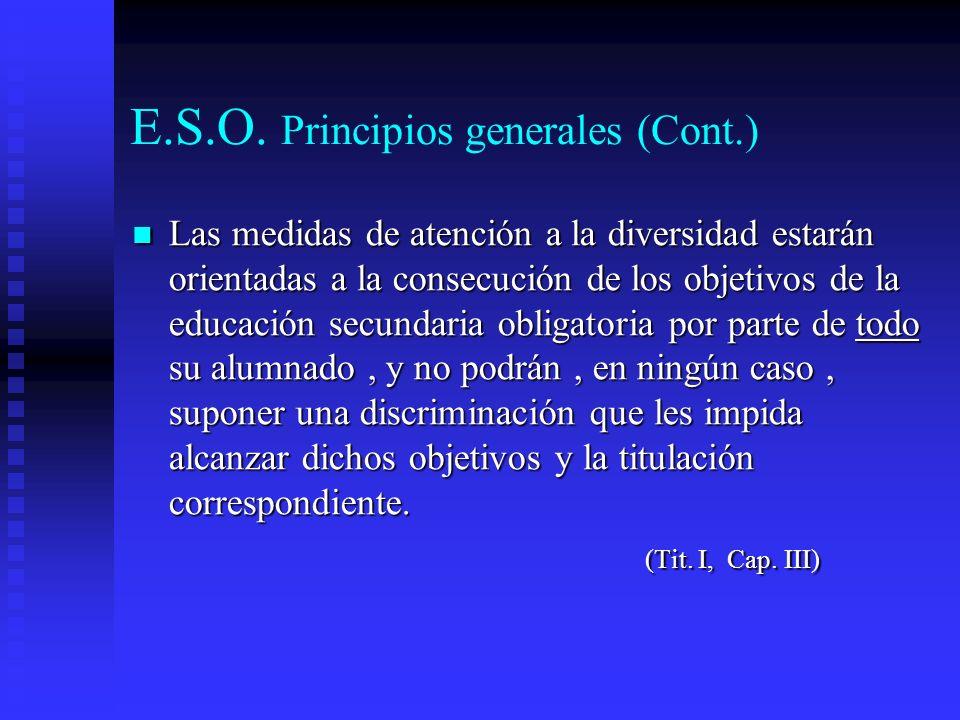 E.S.O. Principios generales (Cont.)