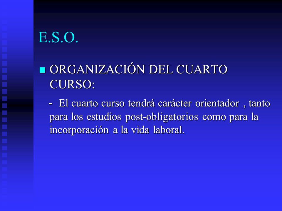 E.S.O. ORGANIZACIÓN DEL CUARTO CURSO: