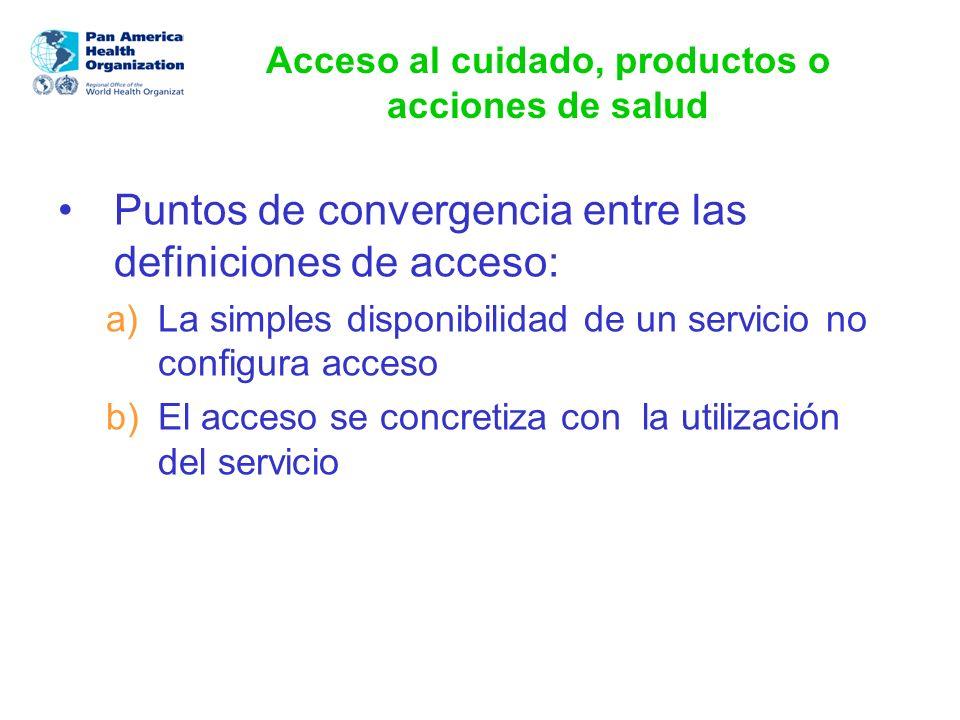 Acceso al cuidado, productos o acciones de salud