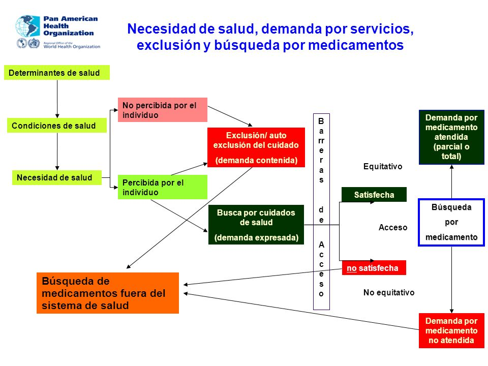 Necesidad de salud, demanda por servicios, exclusión y búsqueda por medicamentos