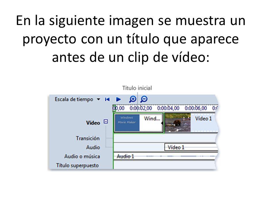 En la siguiente imagen se muestra un proyecto con un título que aparece antes de un clip de vídeo: