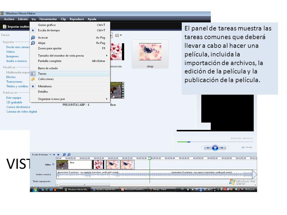 El panel de tareas muestra las tareas comunes que deberá llevar a cabo al hacer una película, incluida la importación de archivos, la edición de la película y la publicación de la película.