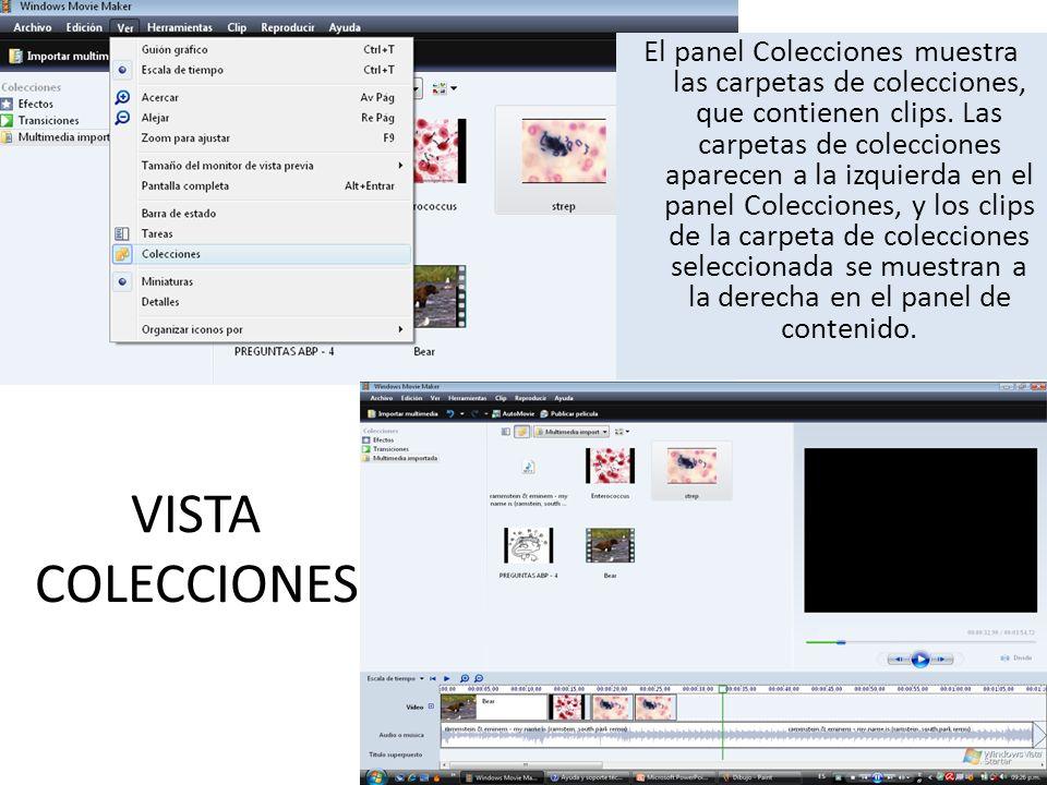 El panel Colecciones muestra las carpetas de colecciones, que contienen clips. Las carpetas de colecciones aparecen a la izquierda en el panel Colecciones, y los clips de la carpeta de colecciones seleccionada se muestran a la derecha en el panel de contenido.